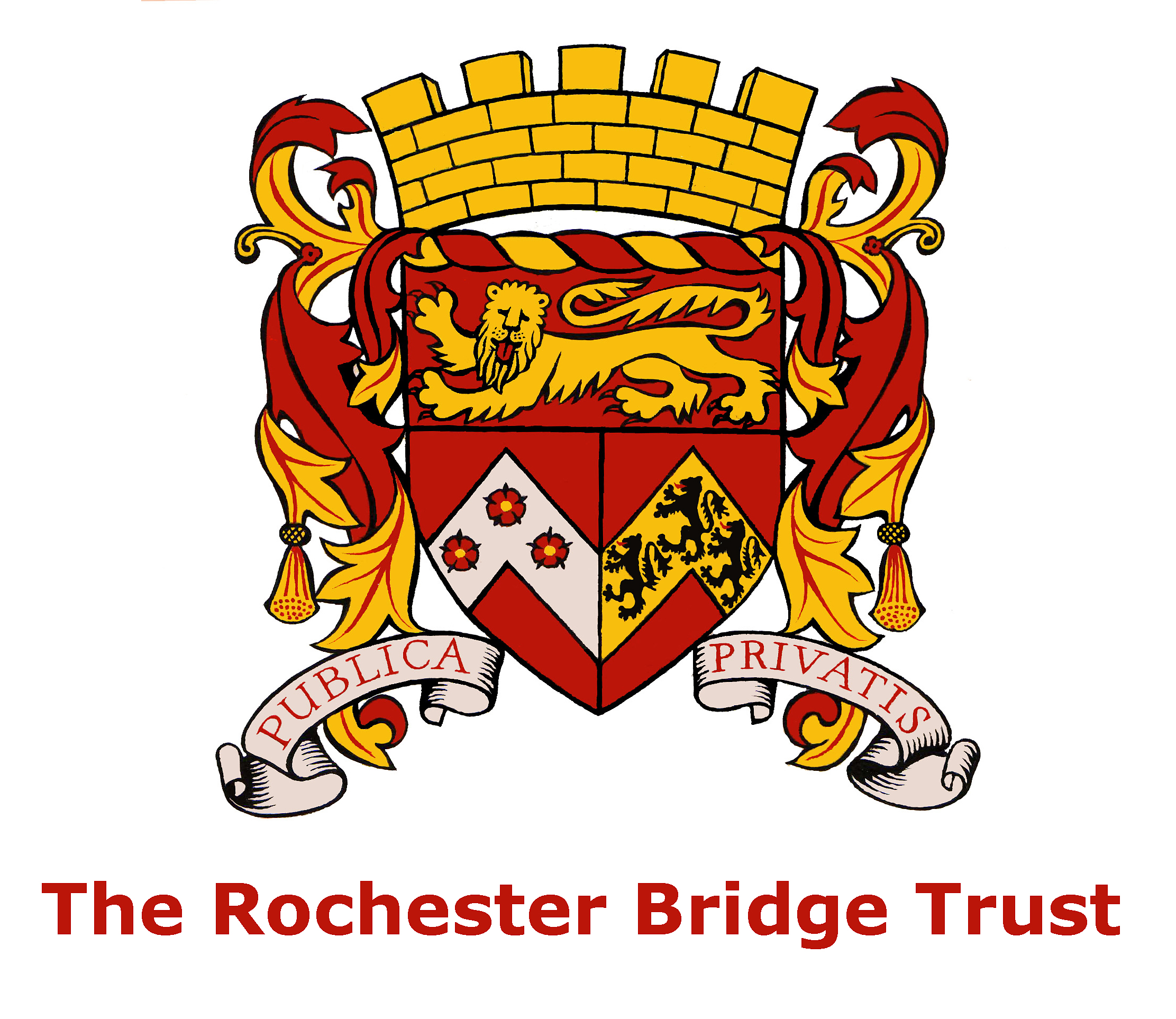 Our coat of arms rochester bridge trust in the bottom left there is a silver chevron shape with three red roses with gold centres and green leaves in heraldry this could be called chevron argent buycottarizona