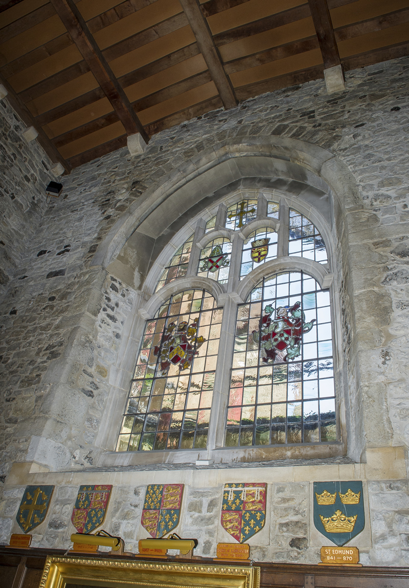 East window and crests
