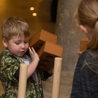 Rochester Bridge Trust hosts a free Bridge Building Day in The Crypt at Rochester Cathedral, Rochester. Pictured is Lewis Goater, aged three, building with bricks. The Crypt, Rochester Cathedral, College Yard, Rochester, Kent. ME1 1SX.