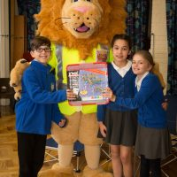 Rochester Bridge Trust hosts a Water Filter building day at St Helen's Church of England Primary School, Cliffe. Pictured are the winners Team Six from Year 5 at St Helen's Church of England Primary School, Cliffe with their prize and Langdon the Lion. St Helen's Church of England Primary School, Church Street, Cliffe, Rochester, Kent. ME3 7PU. Pictured: Andy Jones/Maxim PR